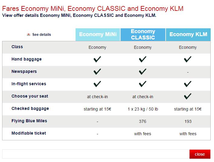 Tarifas KLM